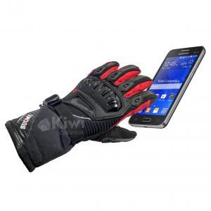 Guantes Tactiles Con Proteccion 100% Impermeables Caña Larga Moto Marca Suomy Rojo